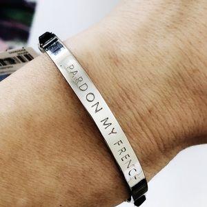"BANANA REPUBLIC ""pardon my French"" silver bracelet"